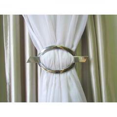 Fivela Decorativa para Cortina Oval - Cromada